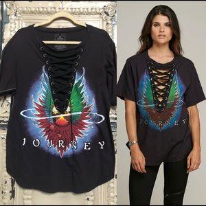 Trunk Ltd laceup black stitched Journey rocker tee